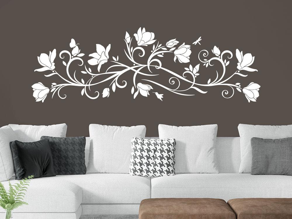 Magnolien Wandtattoo Ornament in der Farbe Weiß