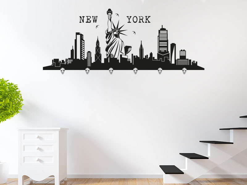 wandtattoo garderobe skyline new york. Black Bedroom Furniture Sets. Home Design Ideas