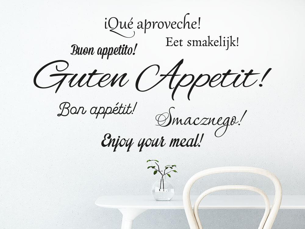 Wandtattoo Guten Appetit in 7 Sprachen über Esstisch Küche
