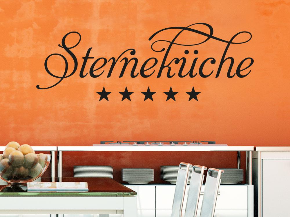 Wandtattoo Sterneküche Schriftzug über Kochfeld