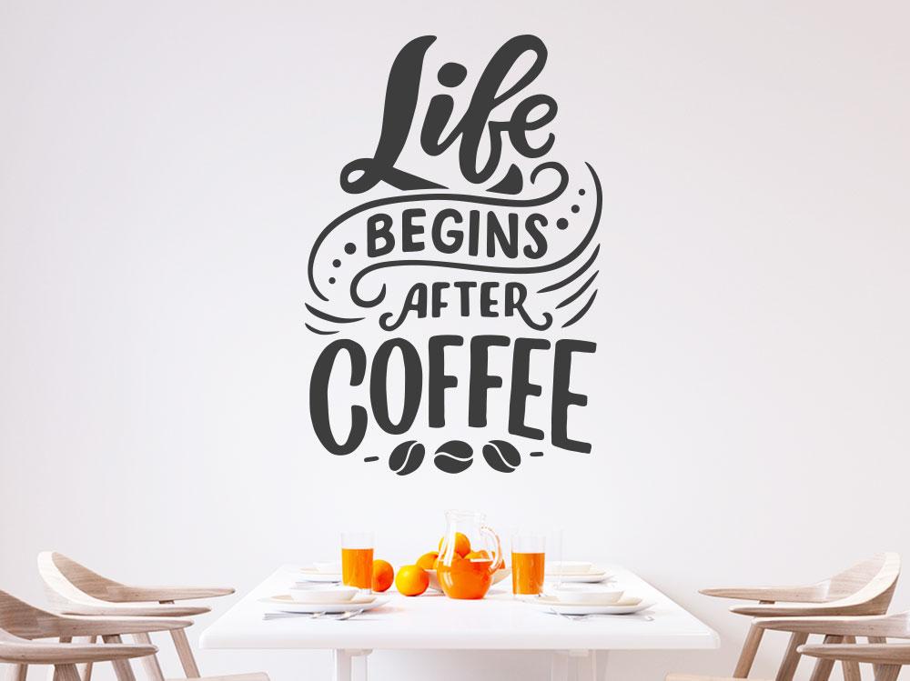 Wandtattoo Life begins after Coffee  - englischer Kaffeespruch in der Küche