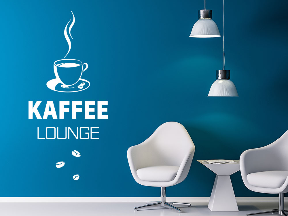 Kaffee Lounge Wandtattoo mit Tasse und Kaffeebohnen