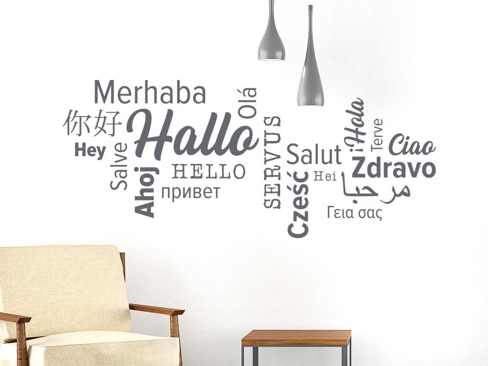 Wandtattoo Wortwolke Hallo verschiedene Sprachen