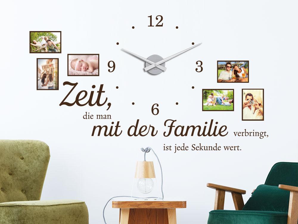 Stylische Fotorahmen Wandtattoo Uhr Familienzeit auf heller Wand
