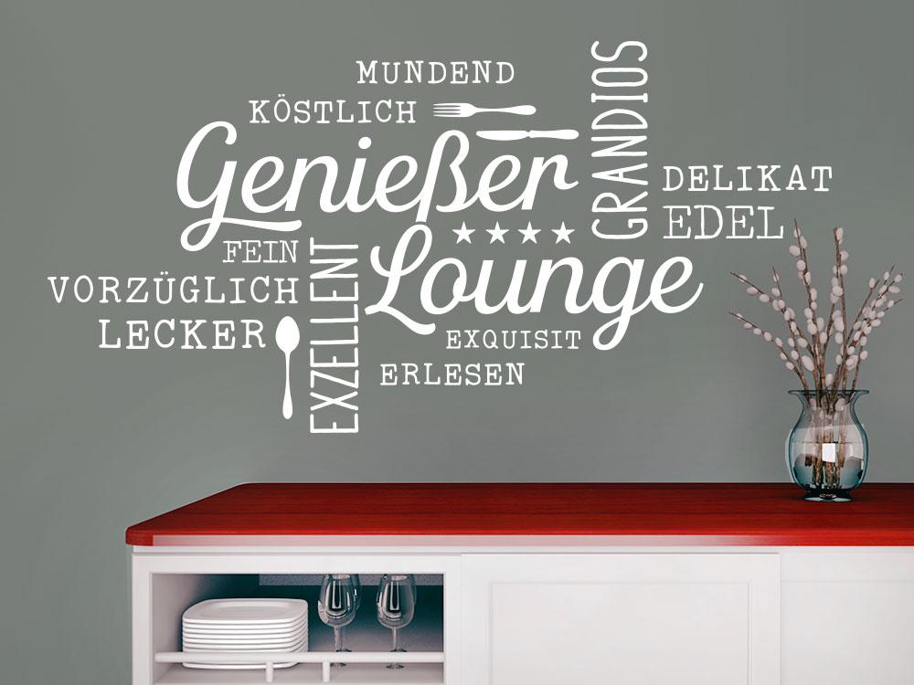 Wandtattoo Wortwolke Genießer Lounge im Esszimmer Farbe Weiss