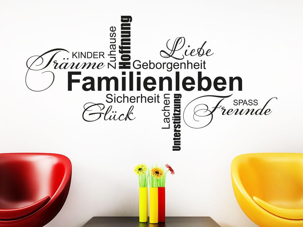 Wandtattoo Familienleben Wortwolke