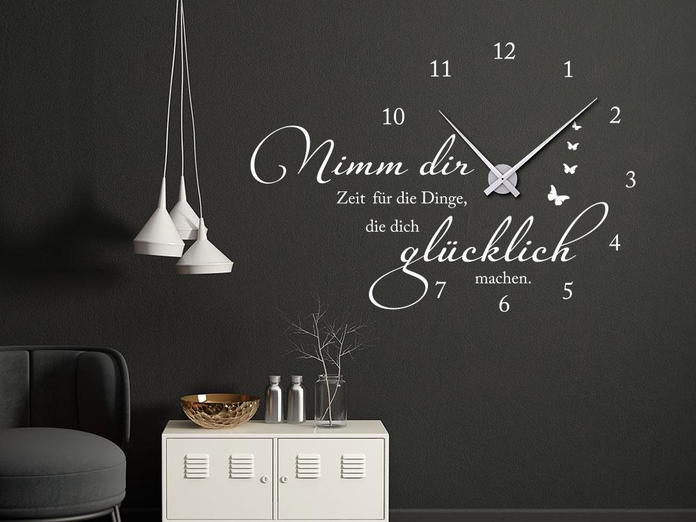 Wandtattoo Uhr Nimm dir Zeit für die Dinge, die dich glücklich machen im Wohnzimmer in der Farbe Weiß