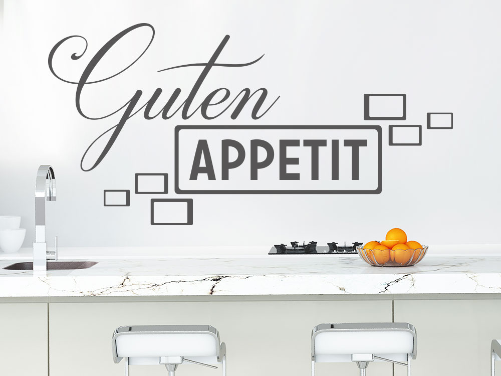 Wandtattoo Guten Appetit Retrolook auf heller Küchenwand