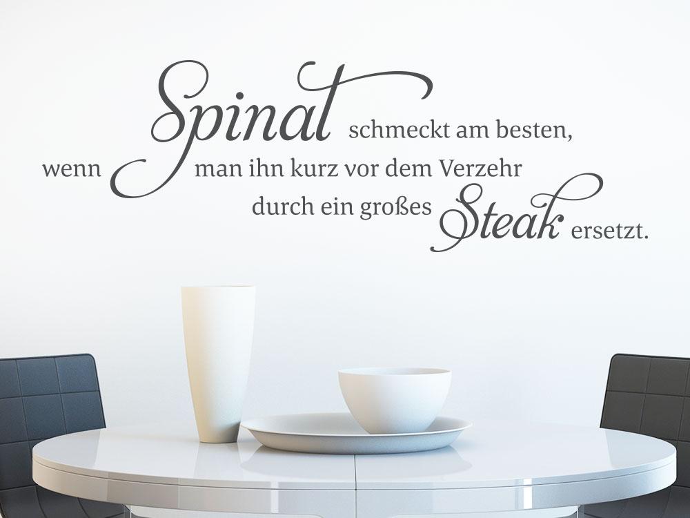 Wandtattoo Wandspruch Spinat schmeckt am besten… helle Wand