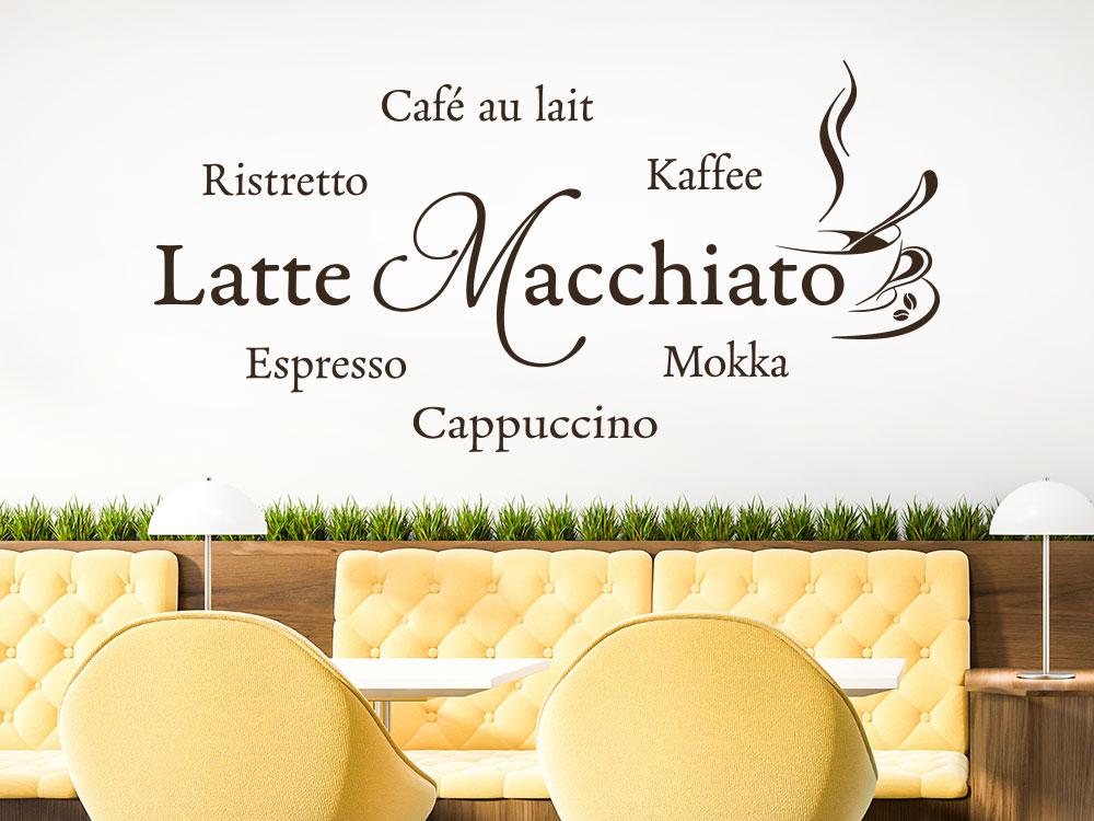 Latte Macchiato Wandtattoo mit Tasse