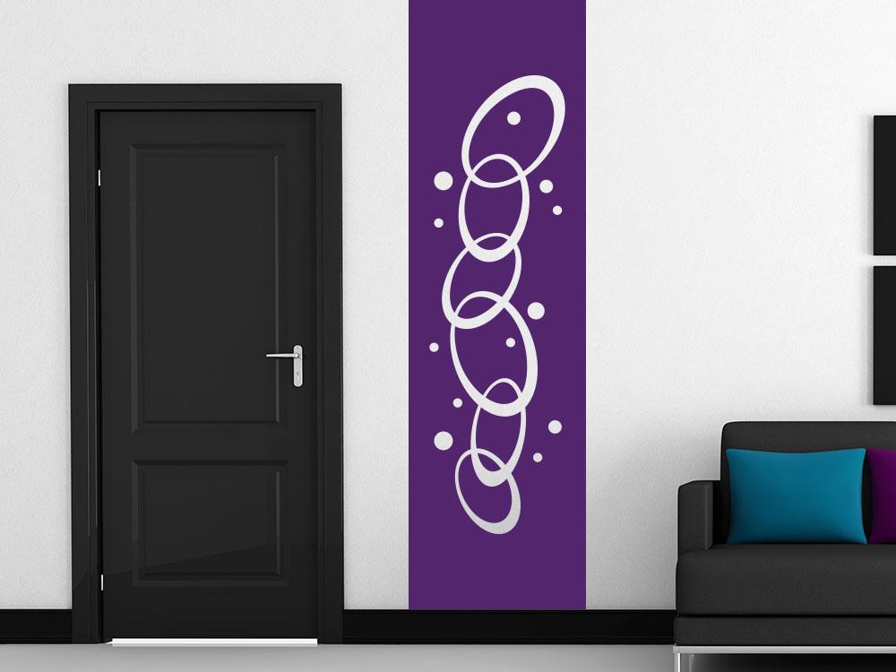 Wandtattoo Banner Retro Kreise auf heller Wand im Flur