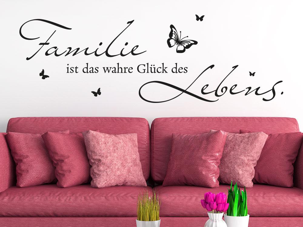 Familienspruch Wandtattoo Familie ist das Glück des Lebens