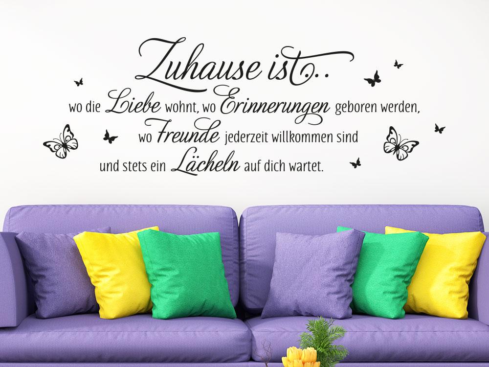 Wandtattoo Spruch Zuhause ist wo die Liebe wohnt mit Schmetterlinge