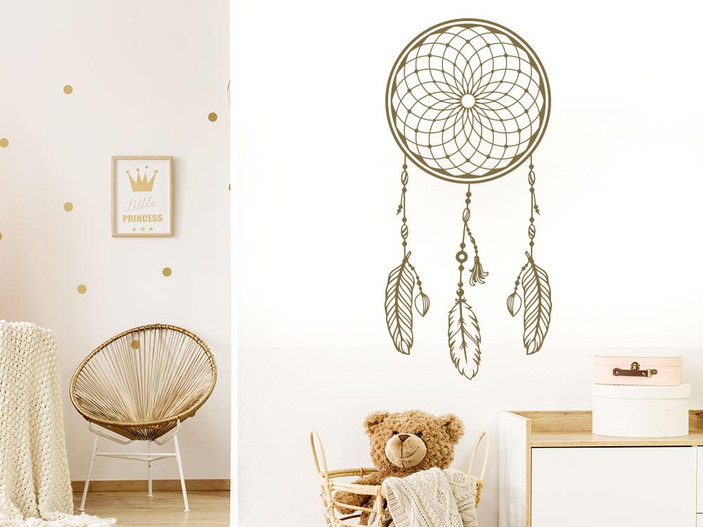 Wandtattoo Traumfänger mit Federn auf heller Wand
