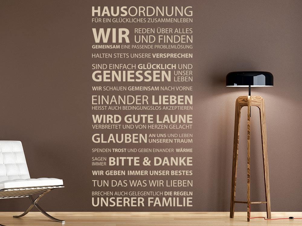 Wandtattoo Hausordnung im Wohnzimmer