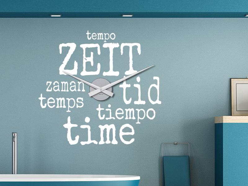 Wandtattoo Uhr Zeit in Sprachen
