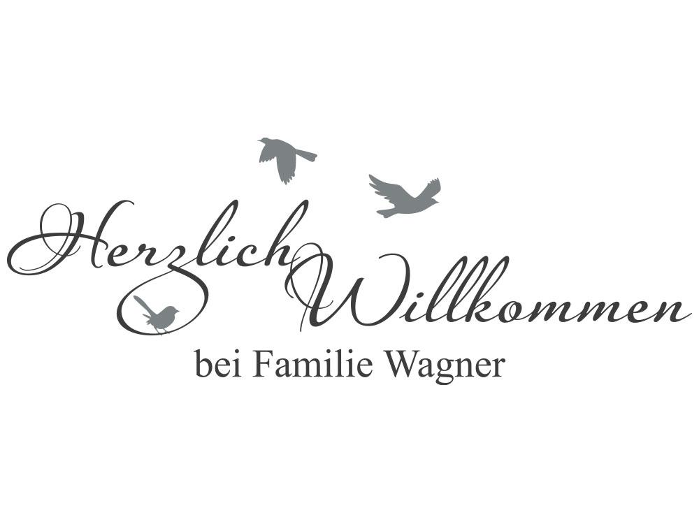 Wandtattoo Herzlich Willkommen mit eigenem Familiennamen - Gesamtansicht des Wandtattoos