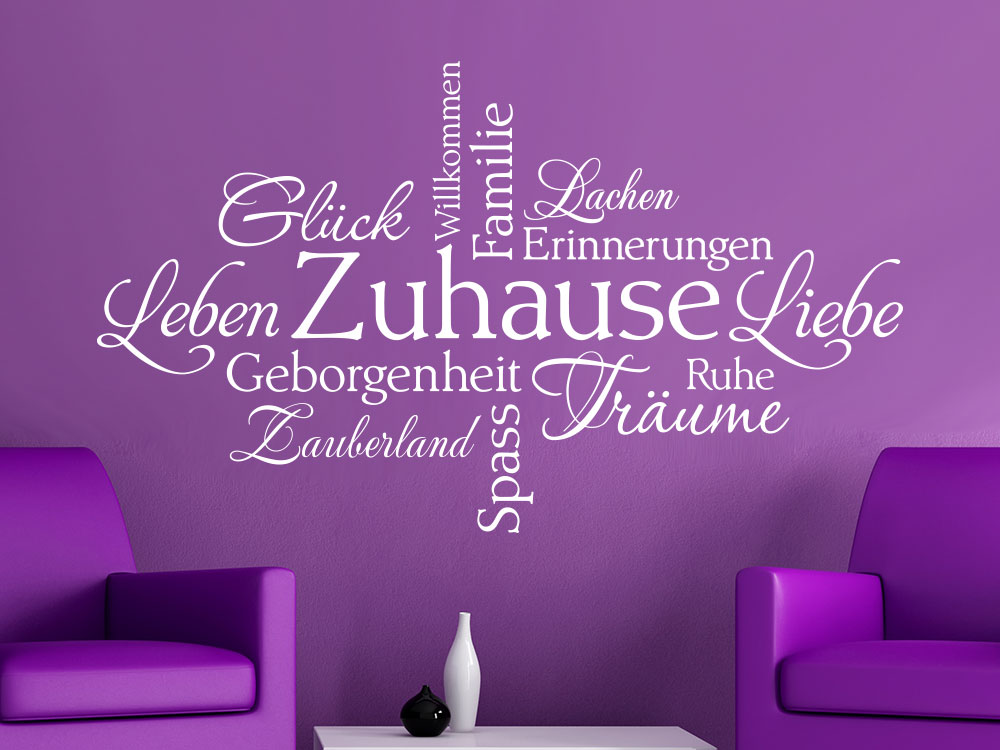 Wandtattoo Zuhause in Worten