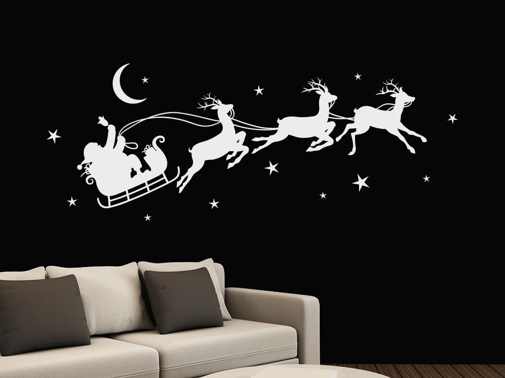 Wandtattoo Weihnachtsschlitten im Sternenhimmel