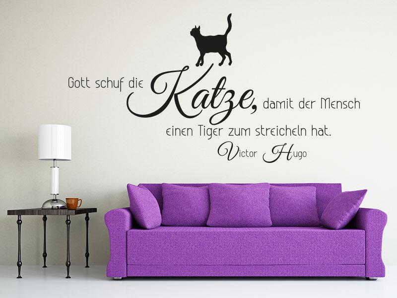 Wandtattoo Gott schuf die Katze, damit der Mensch...
