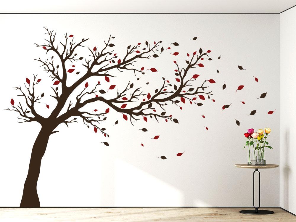 Baum Wandtattoo zweifarbig Stamm Braun / Blätter dunkelrot im Flur