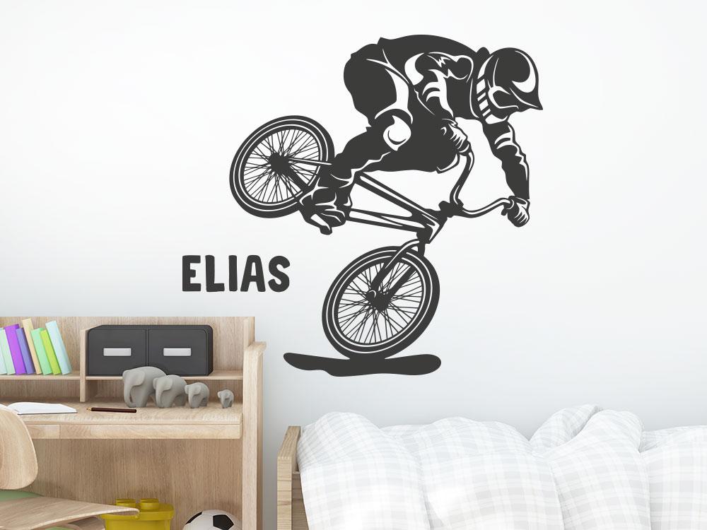 Wandtattoo BMX Rad mit Wunschname