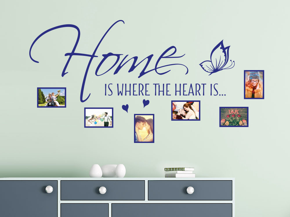 Wandtattoo Fotorahmen Spruch Home is where the heart... über Kommode
