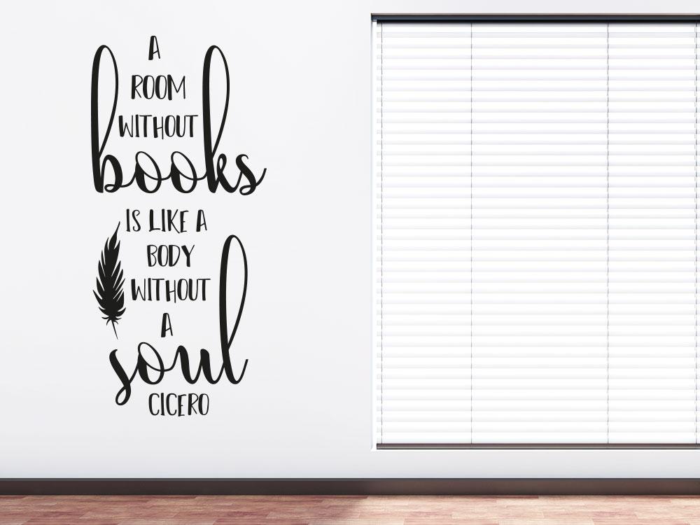 Wandtattoo Room without books auf heller Wand im Wohnraum