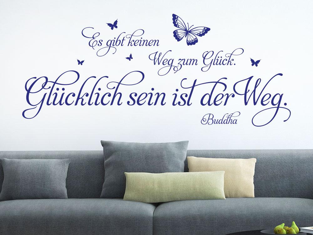 Wandtattoo Der Weg zum Glück… in Farbe Blau über Sofa
