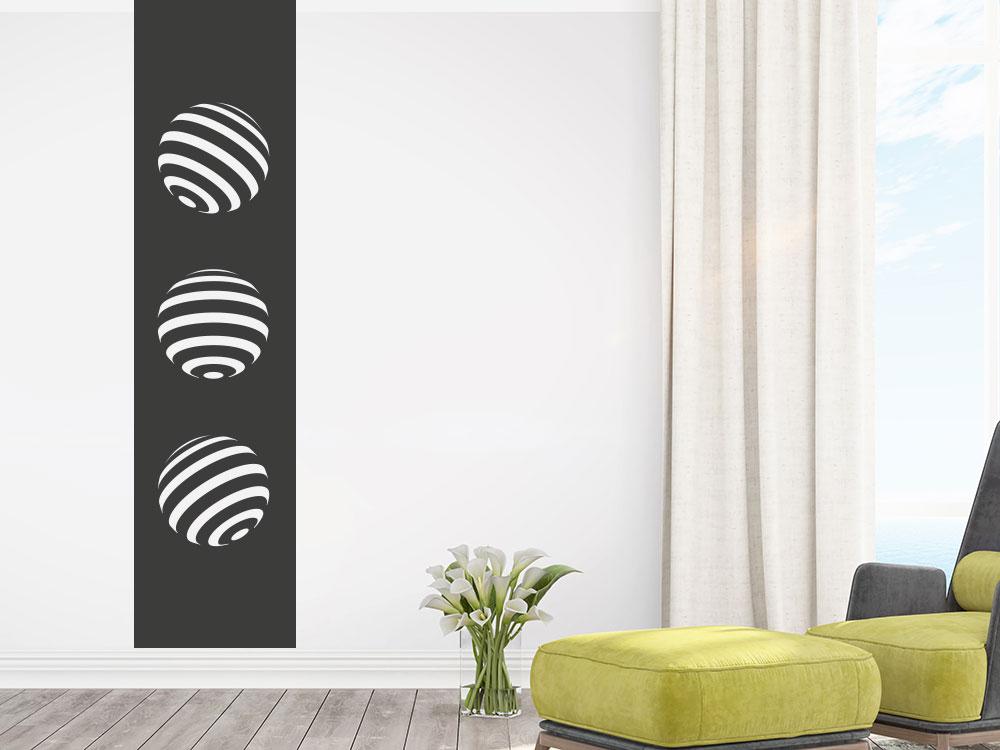 Wandtattoo Banner 3D Kreise / Punkte im Wohnzimmer