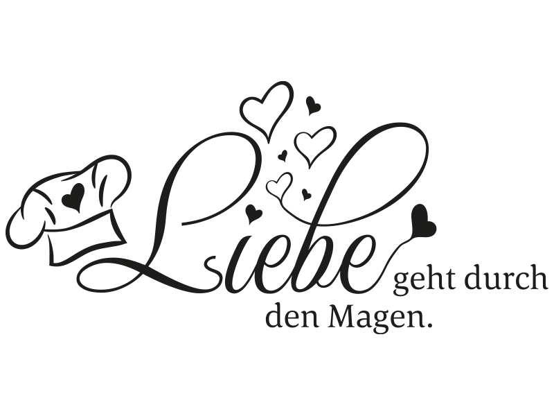 Wandtattoo Spruch Liebe geht durch den Magen - Klebeheld.de