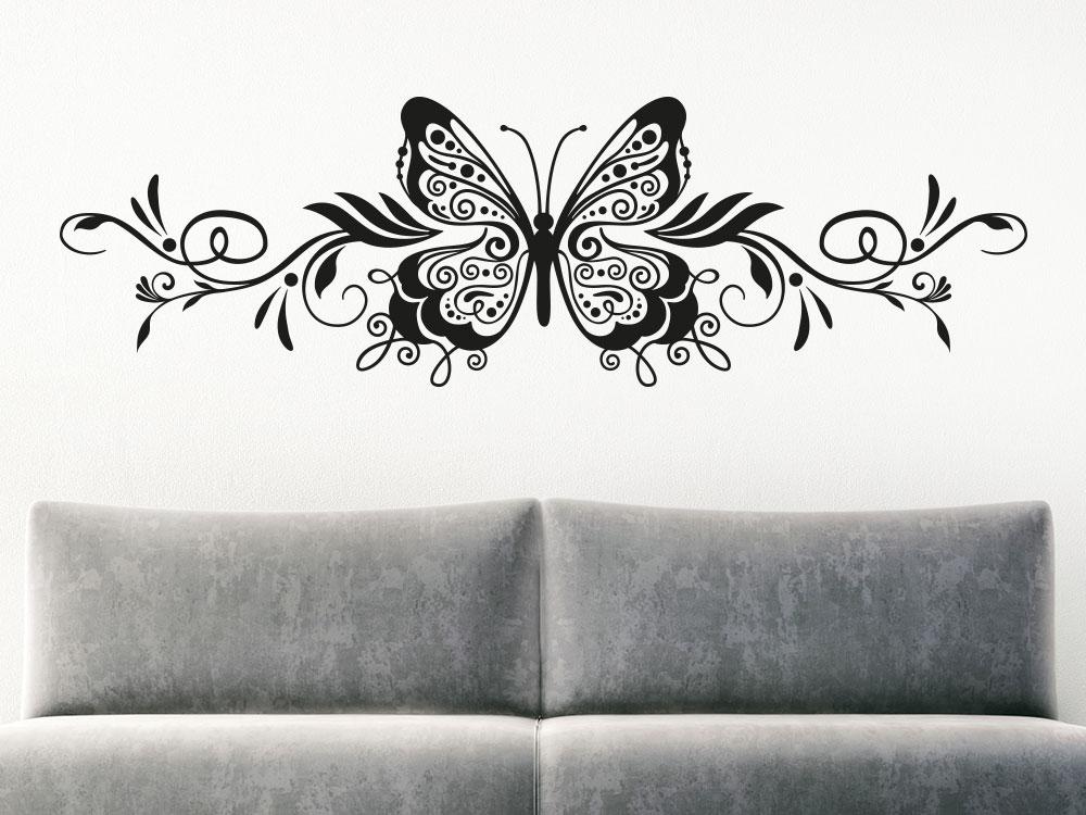 Ornament Wandtattoo Schmetterling in der Farbe Schwarz
