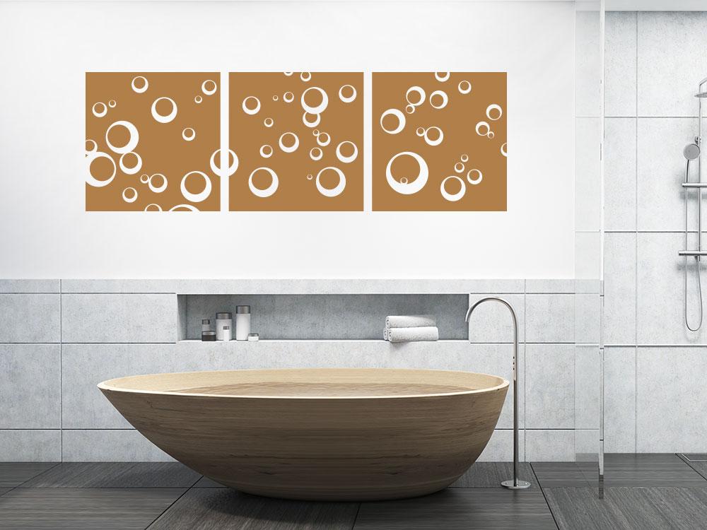 Wandtattoo Wandbanner Set 3-teilig Kreise quer badezimmer
