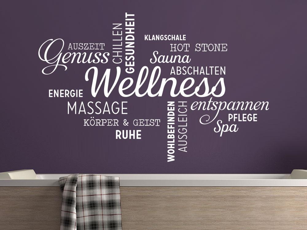 Wandtattoo Wellness Worte als Wortwolke im Badezimmer