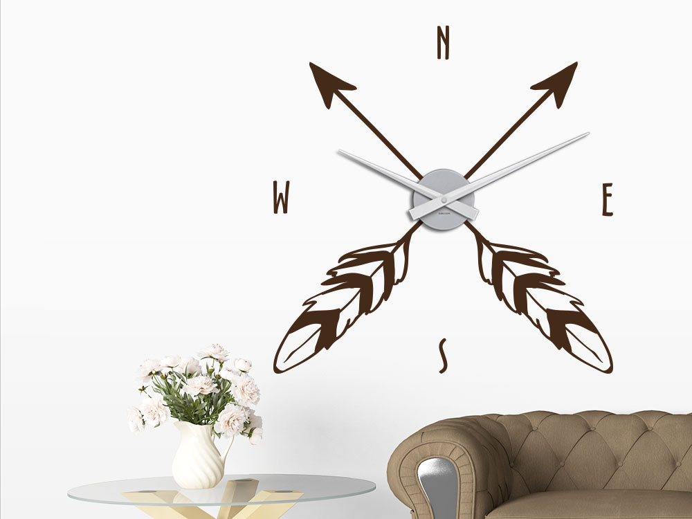 Wandtattoo Uhr Kompass Windrose Arrow tattoo