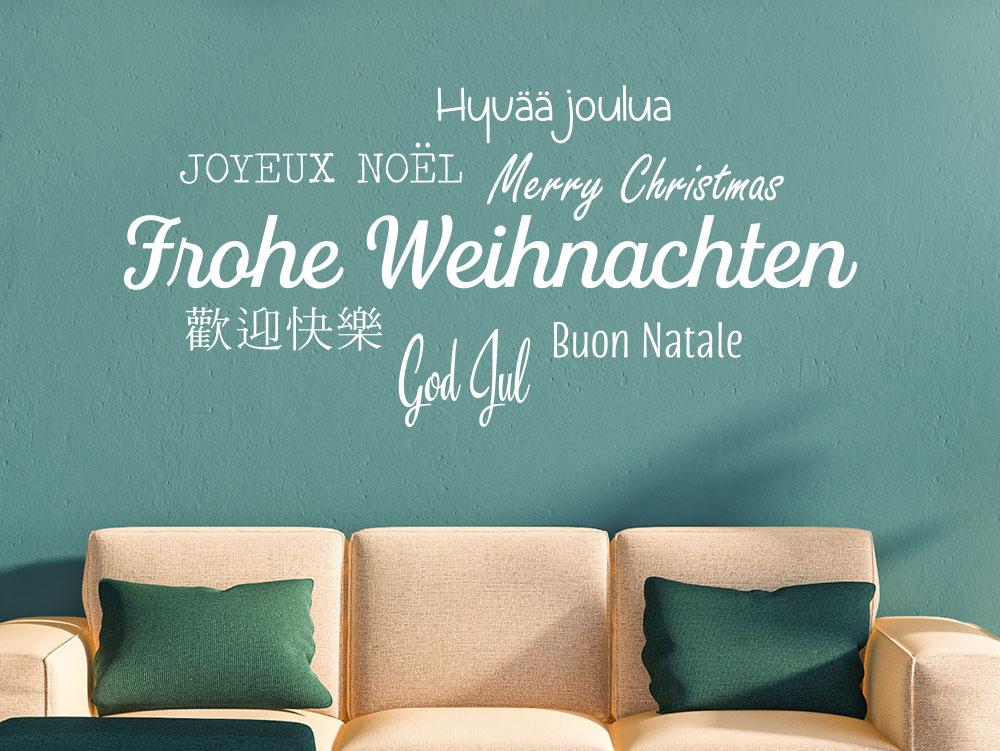 Wandtattoo Frohe Weihnachten in mehreren Sprachen