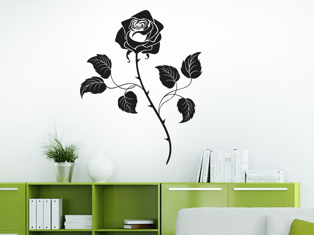 Wandtattoo Rose auf heller Zimmerwand