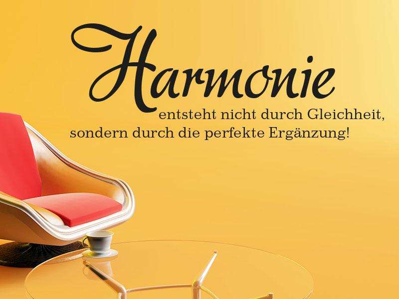 Wandtattoo Harmonie entsteht nicht durch Gleichheit, sondern durch die perfekte Ergänzung.