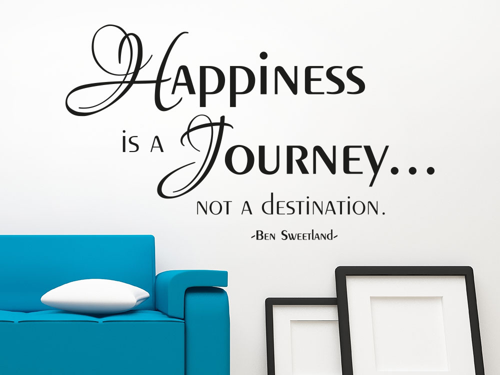 Wandtattoo Happiness is a journey not a destination.