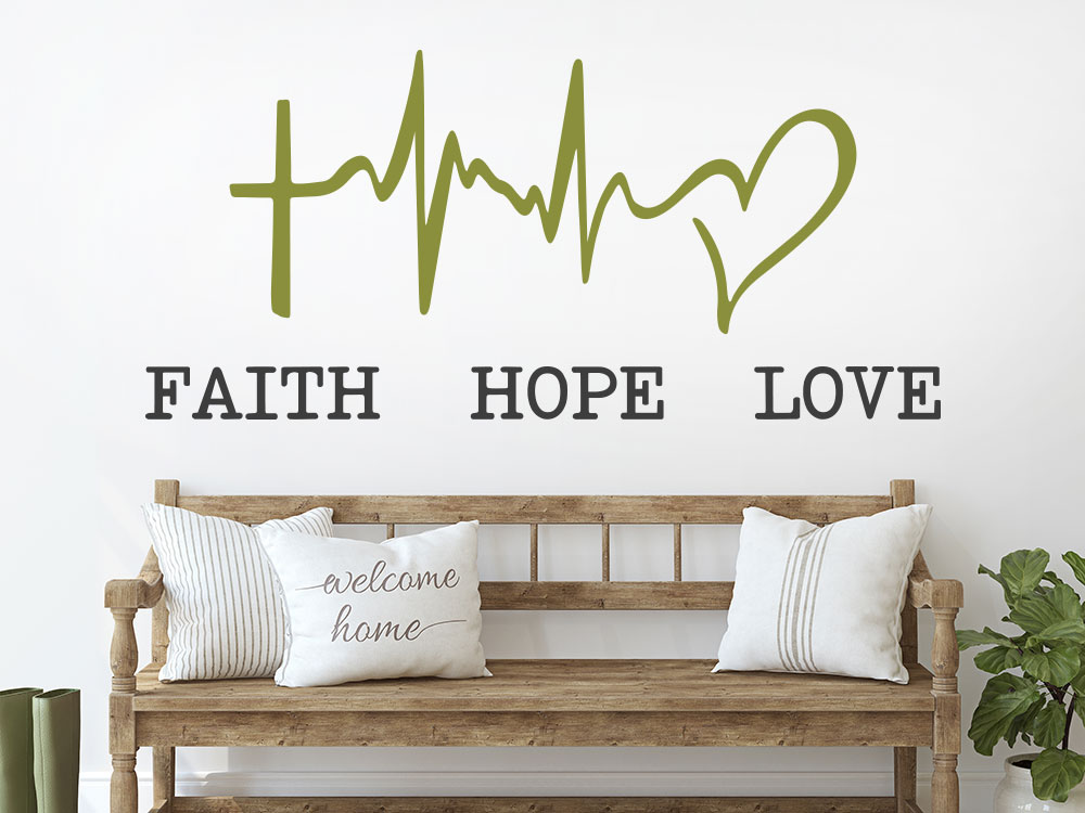 Wandtattoo Faith Hope Love mit Symbol