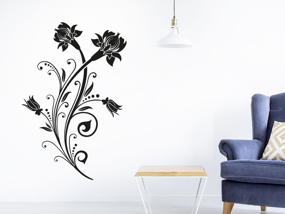 Wandtattoo Dekoratives Ornament in der Farbe Schwarz im Wohnzimmer