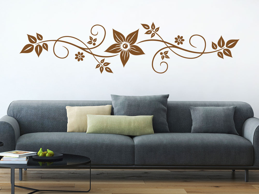 Wandtattoo Ornament mit Blätter in Lehmbraun