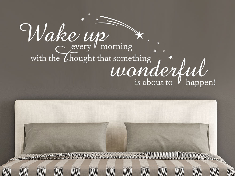 Wandtattoo Wake up every morning  with the thought in Farbe weiß im Schlafzimmer