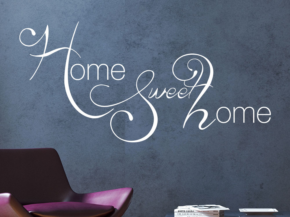 Wandtattoo Home Sweet Home Kreativ auf dunkler Wand in Weiß