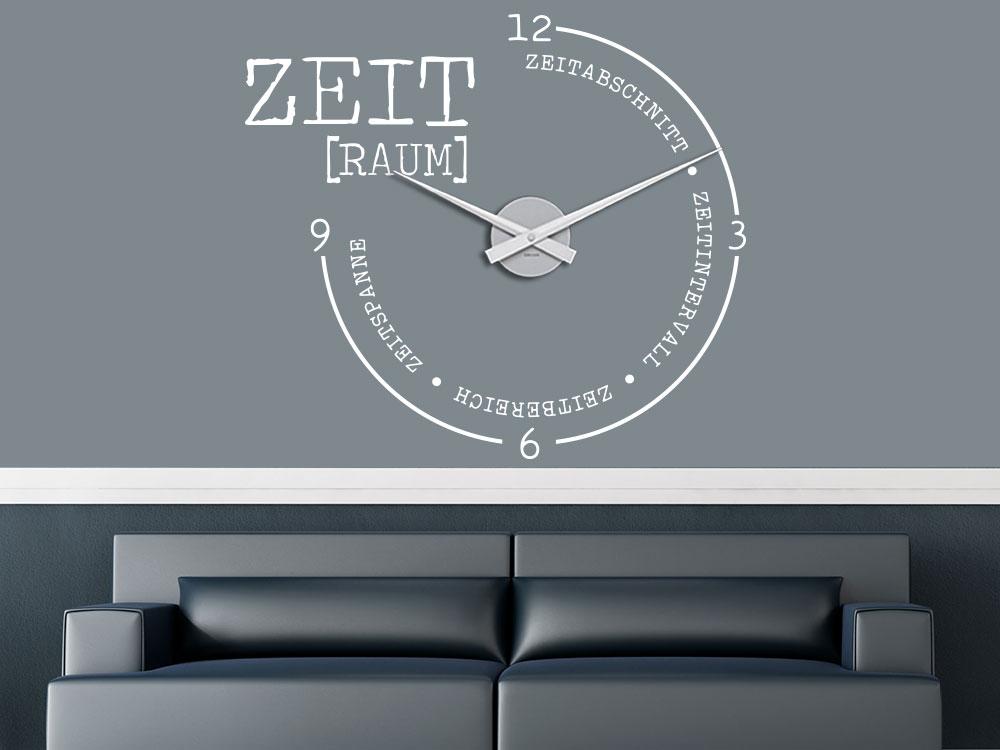 Wandtattoo Uhr Zeit Raum im Wohnraum Farbe Weiß