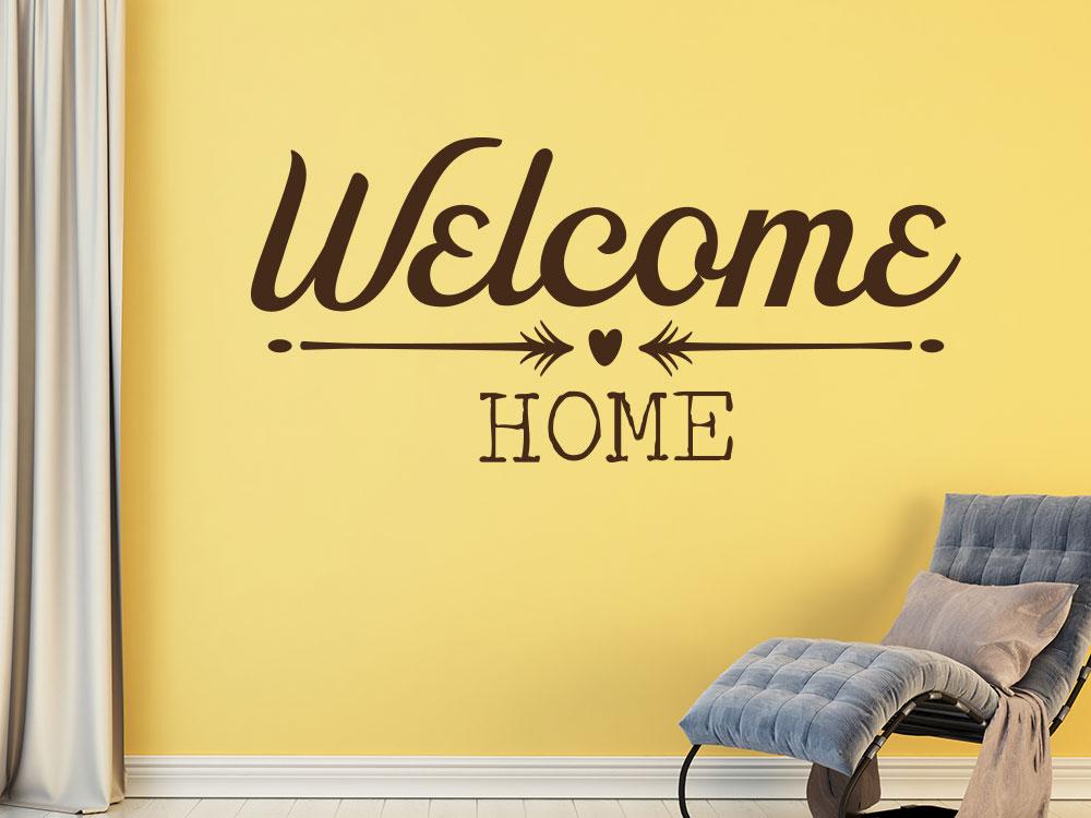 Wandtattoo Modernes Welcome Home mit Dekoelementen