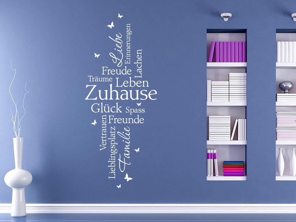 Wandtattoo Zuhause Schriften im Wohnzimmer