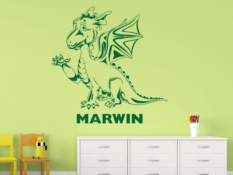 Wandtattoo Dino fürs Kinderzimmer mit Name