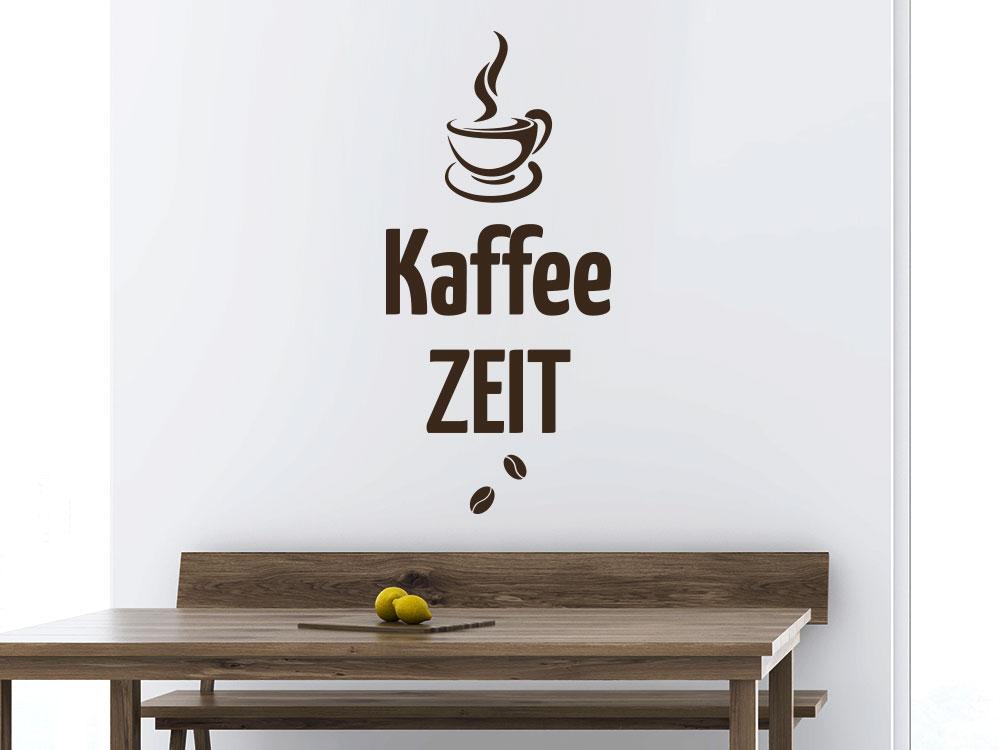 Wandtattoo Kaffee Zeit mit dampfender Tasse