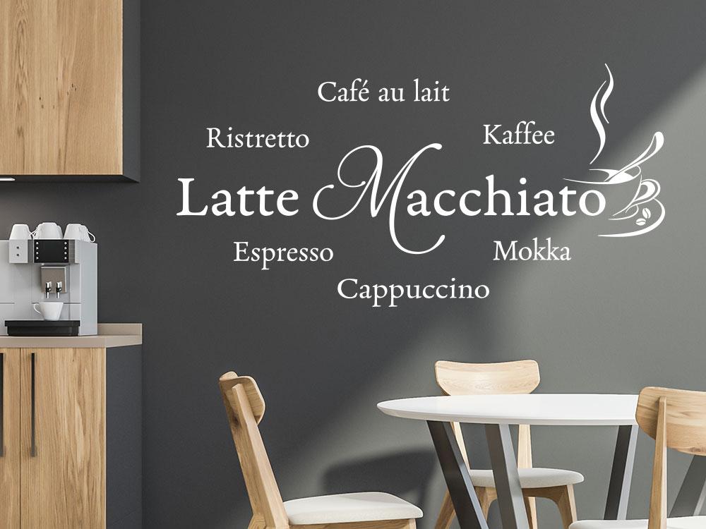 Wandtattoo Latte Macchiato mit dampfender Kaffeetasse